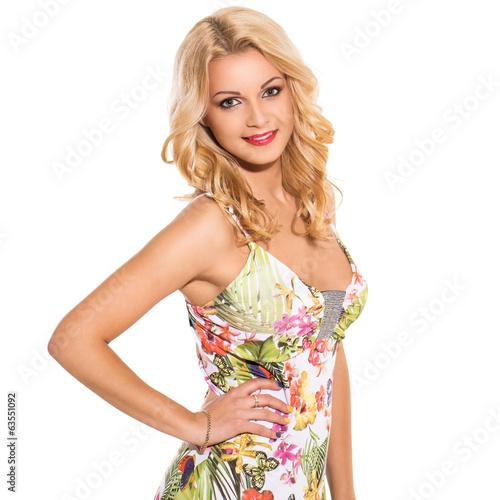 Fotografie, Tablou  Vogue. Beautiful blonde in cute dress