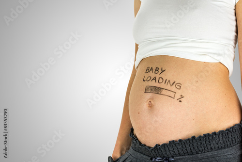 Fotografia, Obraz  Baby Loading sign on a baby bump