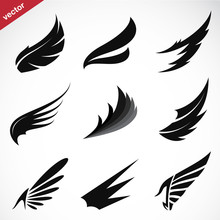 Vector Black Wing Icons Set On White Background.