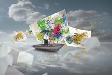 Composite Image Of Happy Businessman Holding Umbrella In A Sailb