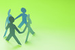canvas print picture - Paper doll people holding hands