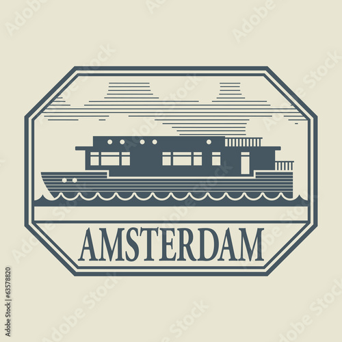 Photo  Stamp or label with word Amsterdam inside, vector illustration