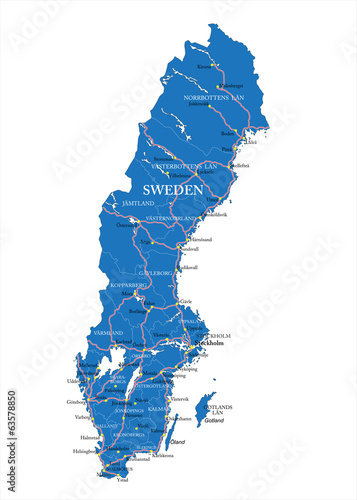 Sweden map Slika na platnu