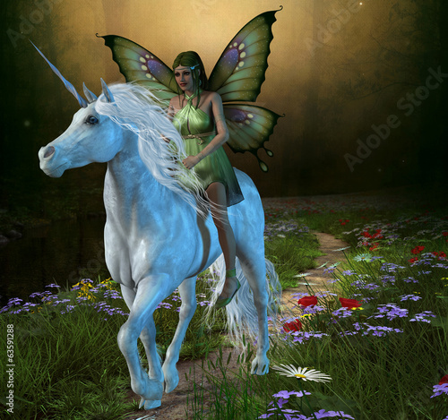 Fotografie, Tablou  Forest Fairy and Unicorn