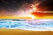 Dreamy sunset at beach shore