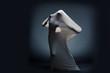 Studio shot of screaming naked female silhouette