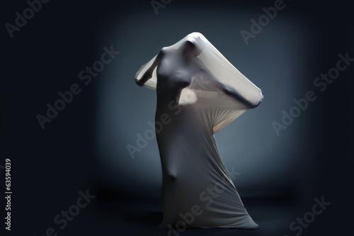 Fotografía  Studio shot of screaming naked female silhouette
