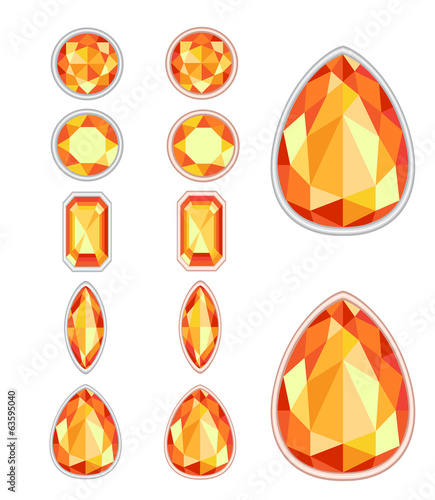Valokuva  set of five forms of amber cut and two kinds of frames (silver a