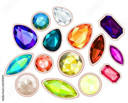 Valokuva big pile of gems isolated on white background