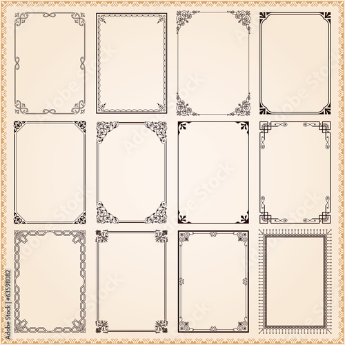 Photo  Decorative frames and borders set vector