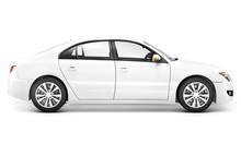 3D White Sedan Car