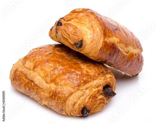 Canvas-taulu Two fresh chocolate croissant