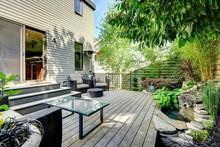 Beautifully Designed Backyard With  Patio Area