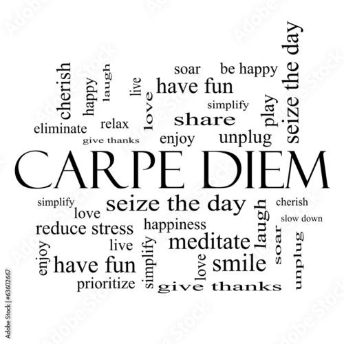 Carpe Diem Word Cloud Concept w czerni i bieli