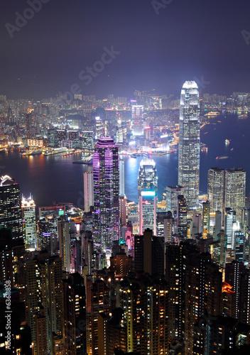 Hong Kong city at night Poster