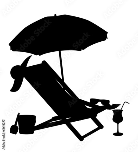 Carta da parati silhouette of beach chairs and umbrellas vector illustration