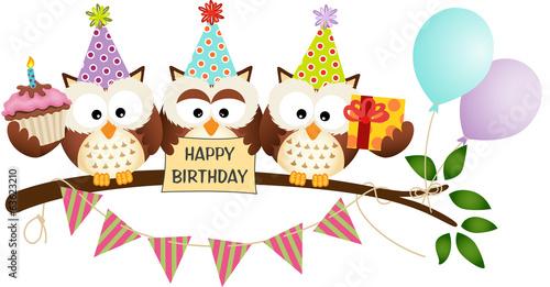 Photo  Cute Three Owls Happy Birthday
