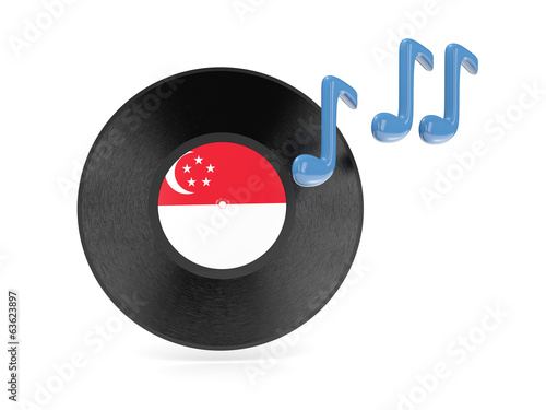 Photo  Vinyl disk with flag of singapore