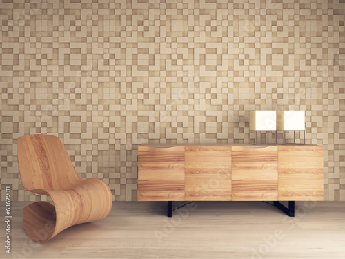 Fototapeta  Wooden lounge chair against mosaic pattern wall with sideboard