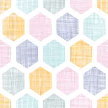 Abstract Colorful Honeycomb Fabric Textured Seamless Pattern