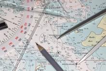 Seekarte Mit Navigationsinstrumenten