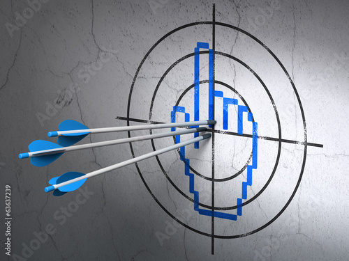 Photo  Web design concept: arrows in Mouse Cursor target on wall