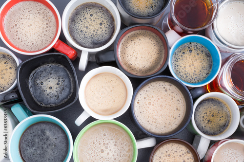 Background of mugs full of fresh hot coffee