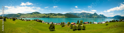 Fototapeten Alpen wide view of Alps and Alp lake