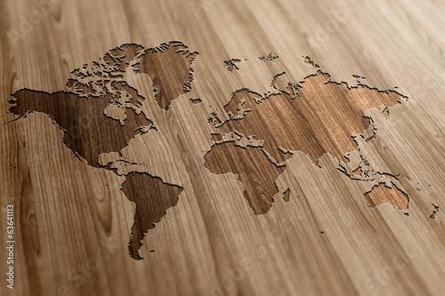 Naklejka Mapa wycięta w drewnie
