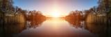 Fototapeta Landscape - Stunning Spring sunrise landscape over lake with reflections and