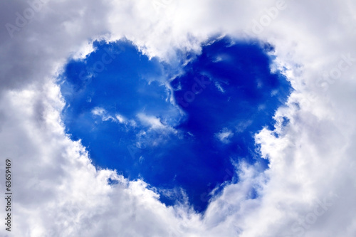 Heart in the blue sky.