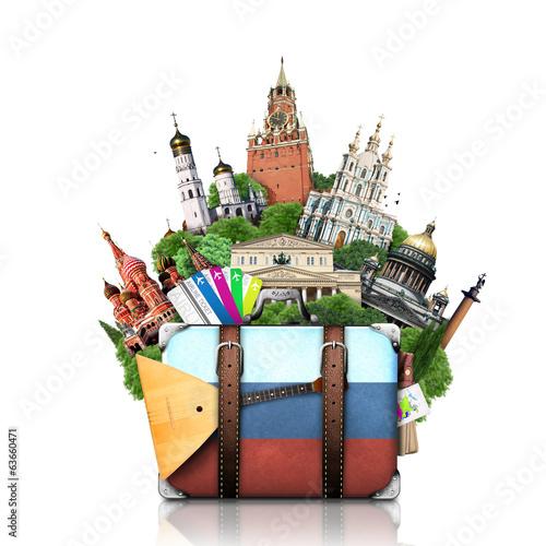 Fotografía  Russia, landmarks Moscow, retro suitcase, travel
