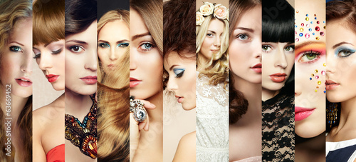 Fototapeta Beauty collage. Faces of women