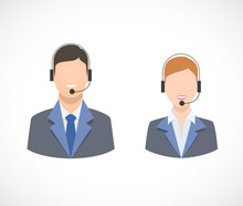 Call Center Support Personnel Staff Icons