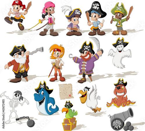 grupa-piratow-kreskowek-z-smieszne-zwierzeta