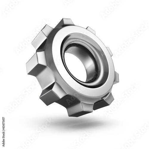 3D metallic gear isolated on white background Poster
