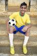 Smiling Portrait of Young Brazilian Soccer Football Player