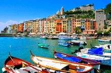 Colorful Harbor View At Portovenere, Italy With Boats