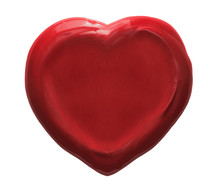 Red Heart Wax Seal Isolated On White