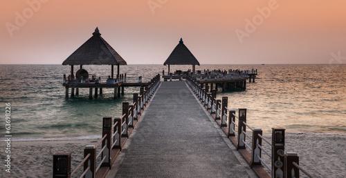Pathway to the sea, Sihanoukville beach, Cambodia.