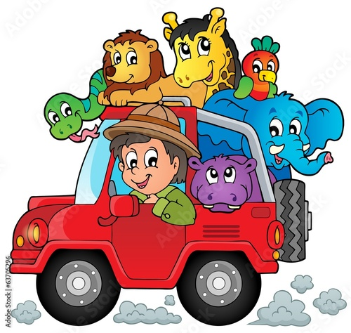 Fotobehang Boerderij Car with traveller theme 2