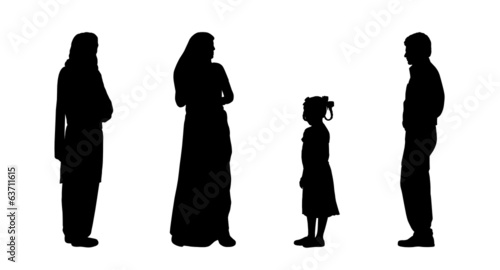 Photo  indian people standing silhouettes set 3