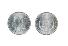 Morgan Silver Dollars On White