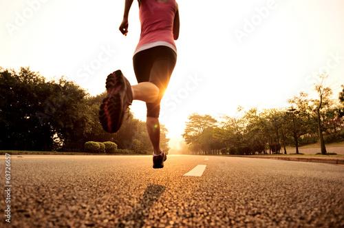 Fototapeta Runner athlete running on road obraz