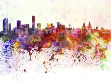 Liverpool Skyline In Watercolo...