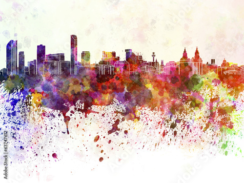 Liverpool skyline in watercolor background
