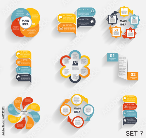 Fotografering  Collection of Infographic Templates for Business Vector Illustra