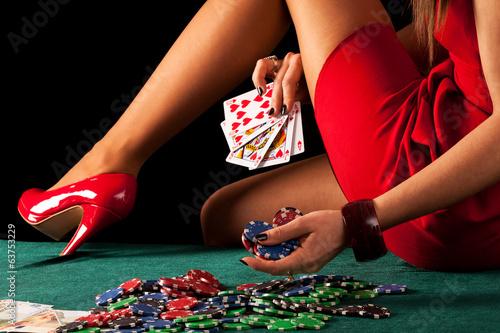 Sexy gambling woman плакат