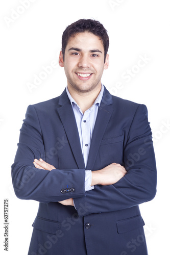 Fotografie, Obraz  Portrait of a handsome business man, isolated on white