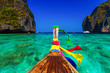 canvas print picture Traditional longtail boat in Maya bay on Koh Phi Phi Leh Island,